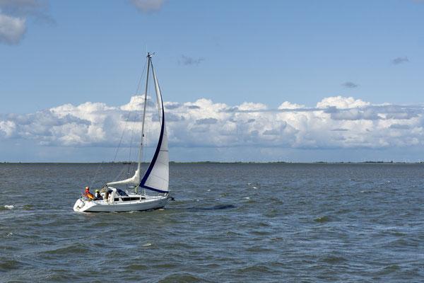 Ein Segerboot begleitet uns ein Stück des Weges