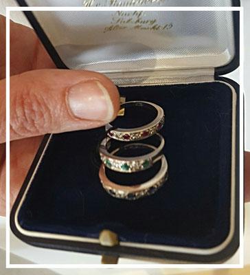 Ringset Saphire - Rubine - Smaragde