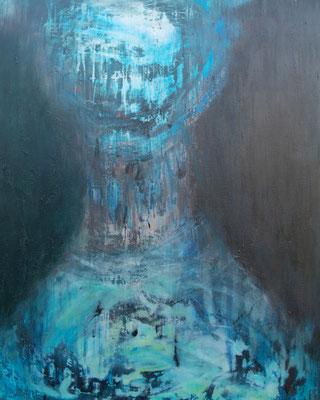 FANTÔME BLEU - série introspection  100 x 80 ( acrylique - huile sur toile  )
