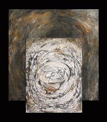 BIG-BANG -  série : GENESE -  112 x 100 (technique mixte - marouflage - acrylique sur toile )
