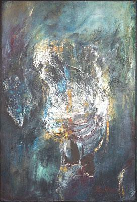 SANS TITRE - série introspection 126 x 87 (acrylique, huile, marouflage sur carton