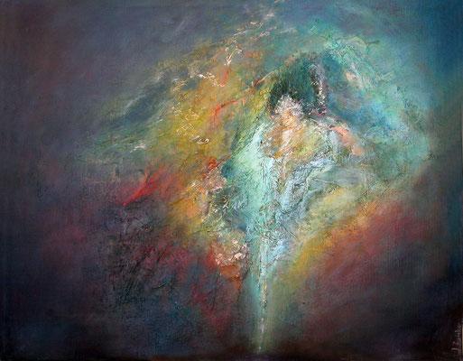 SANS TITRE N°2 - série introspection  80 x 100  ( marouflage, matière, acrylique sur toile )