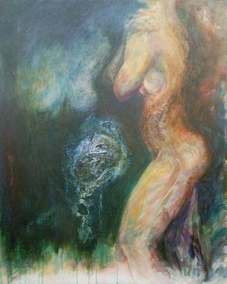 AMBIGUITE - série introspection - 100 x  80 ( encre sur papier - marouflage - acrlique et huile sur toile )