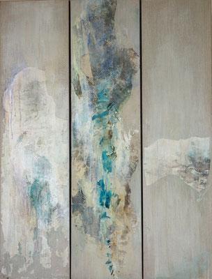COULEURS DES SONGES -  triptyque - 120  x  91  (marouflage, encre, acrylique sur toile )