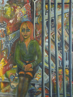 Girl sitting on stairs, 2009/ 2017, oil on canvas, 160x120 cm