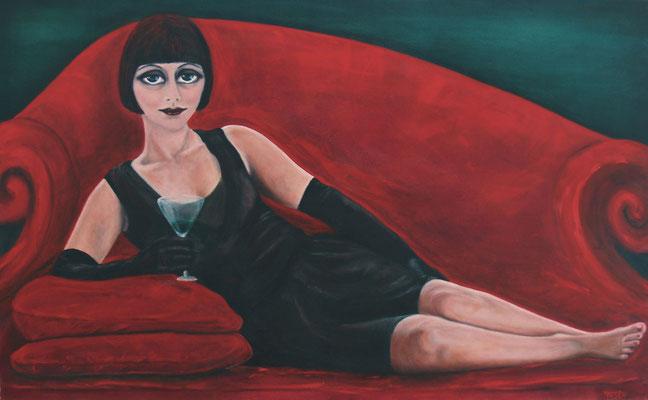 Mädchen liegend auf rotem Sofa, 2008, Öl auf Leinwand, 100x160 cm