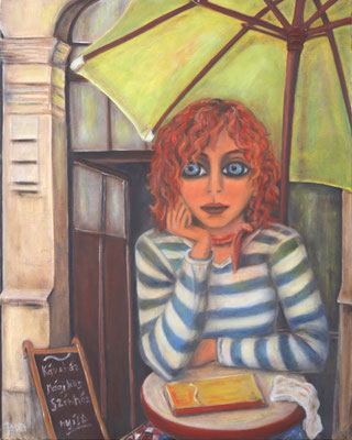 Girl sitting under a green sunshade, 2010, oil on canvas, 100x80 cm