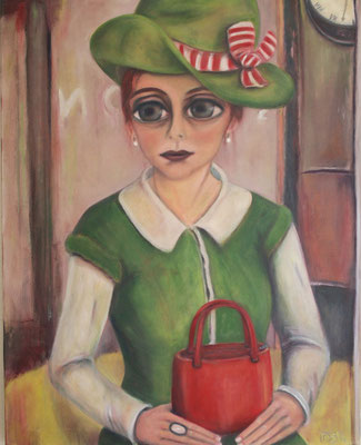 Madame Tueté with a green hat, 2011, oil on canvas, 100x80 cm