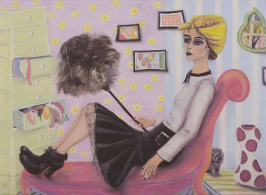 La fille avec le plumeau, 2017, oil on canvas, 80x110 cm