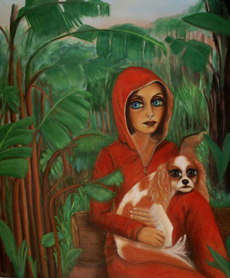 Woman with a dog, oil on canvas, 2010, 120x100 cm