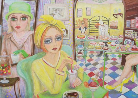 Dans la Confiserie, 2015, oil on canvas, 140x100 cm