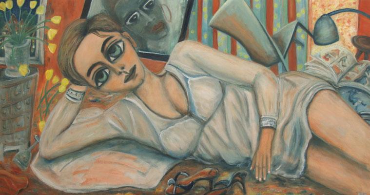 Das Mädchen und die Schuhe, 2013, Öl auf Leinwand, 90x170 cm