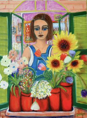 Das Mädchen mit der Gießkanne, 2021, Öl auf Leinwand 80x60cm