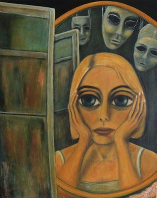 Das Mädchen und die Masken, 2011, Öl auf Leinwand, 100x80 cm