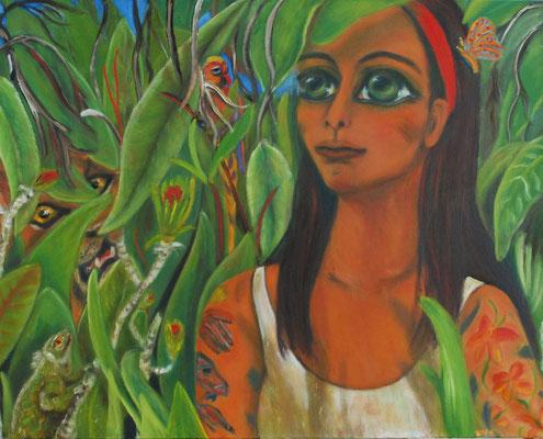 Das Mädchen mit den Tattoos, 2012/13, Öl auf Leinwand, 80x100 cm
