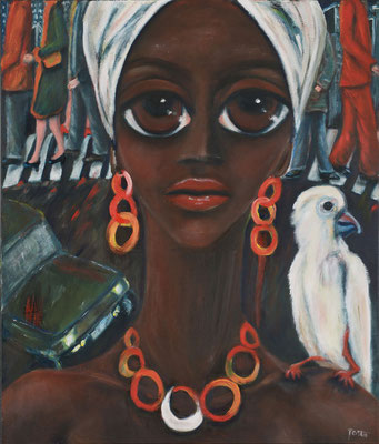 Frau mit weißem Vogel, 2013, Öl auf Leinwand, 70x60 cm