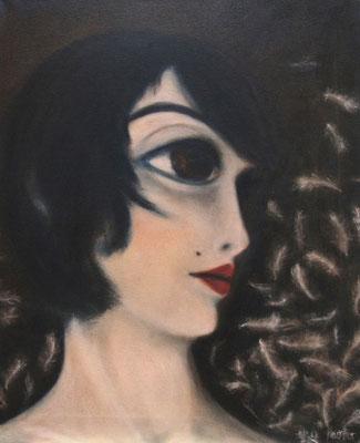 Mädchen und Federn, 2011, Öl auf Leinwand, 60x50 cm