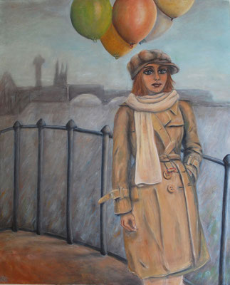 Girl with balloons, oil on canvas, 2009, 120x100 cm