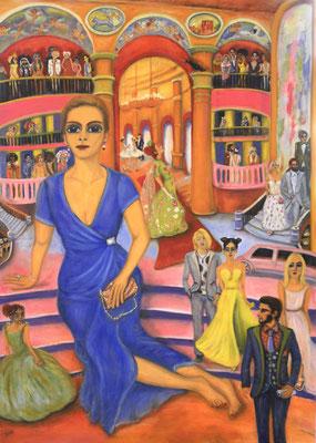 Frau vor der Oper, 2018, Öl auf Leinwand, 140x100 cm