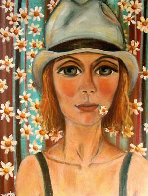Mädchen mit Hut, 2009, Öl auf Leinwand, 80x60 cm