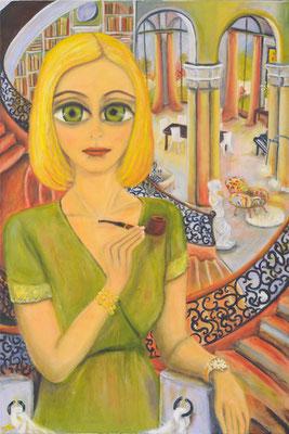 Frau mit Pfeife, 2015, Öl auf Leinwand, 120x80 cm