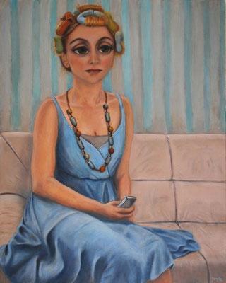 Mädchen mit Papillotten, 2010, Öl auf Leinwand, 100x80 cm