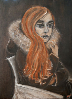 Mädchen mit rotem Haar, 2021, Öl auf Leinwand, 80x60 cm