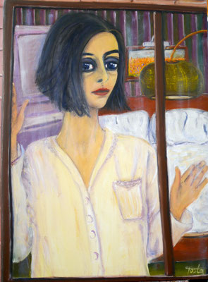 Mädchen am Fenster, 2021, Öl auf Leinwand, 80x60 cm