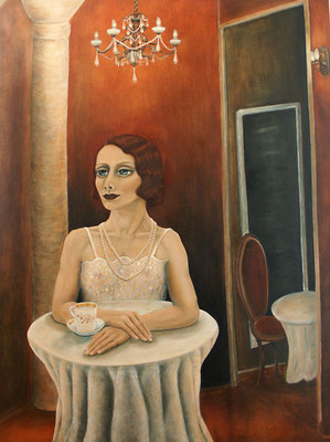 In the cafe, 2007, oil on canvas, 160x120 cm