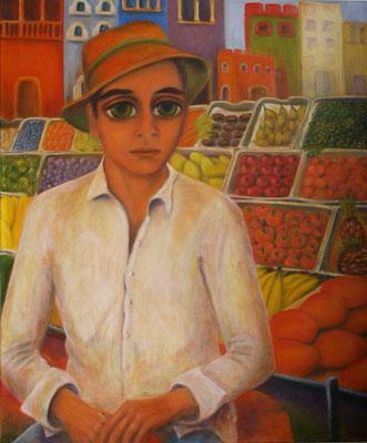 Junge auf dem Markt, 2011, Öl auf Leinwand, 120x100 cm