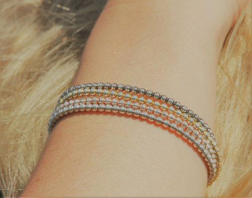 GrosseJewels Armband Stretch Silber Funkel Sparkle mini