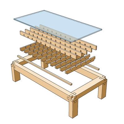 Teetisch / mit Glas oder Holz