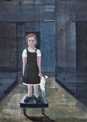 Kind mit Puppe, 2013, Malerei auf Papier, 86 x 121 cm