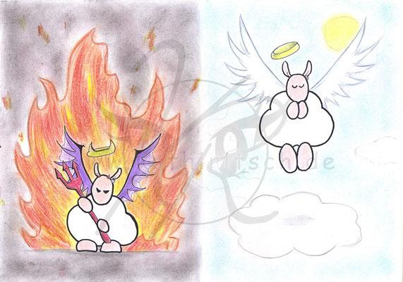 Sharpie als Teufel und Engel