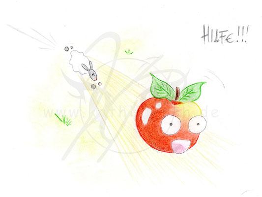 Schaf jagt Apfel