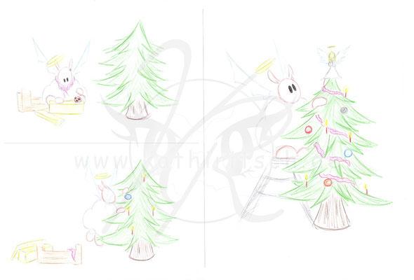 Sharpie schmückt Weihnachtsbaum