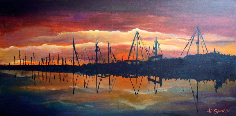 Yachthafen - 2009 - Acryl auf Leinwand - 50x100