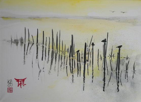 Schilf gelb - 2016 - Sumi-e - Acryl auf Leinwand - 50x70