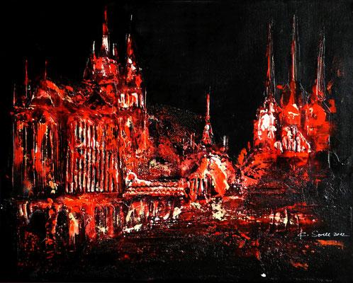 Dom schwarz-rot - 2012 - Acryl auf Leinwand - 40x50