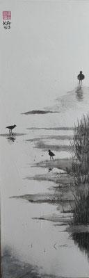 Seeufer -2016 - Sumi-e - Acryl auf Leinwand - 50x70