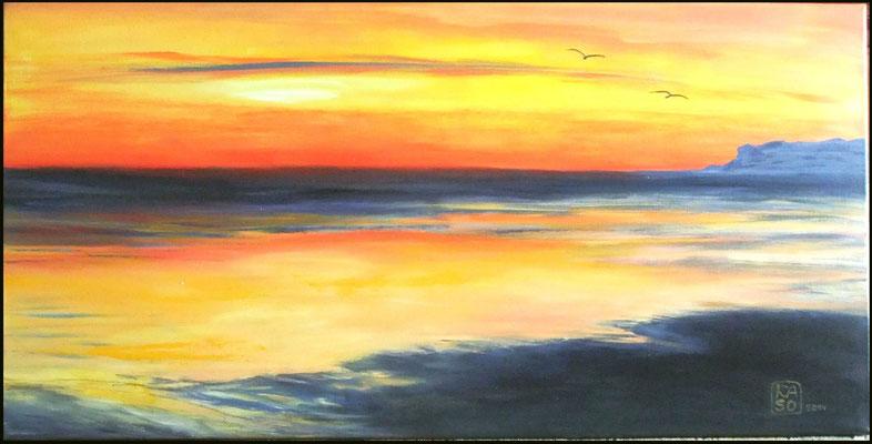 Abendstille am Meer - 2014 - Acryl auf Leinwand - 50x100
