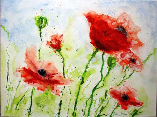 Mohnblüten - 2015 - Acryl auf Leinwand - 60x80 - verkauft