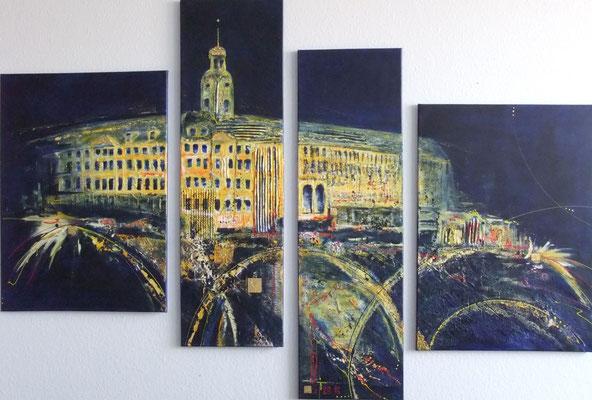 Schloss Heidecksburg - 2014 - Acryl auf Leinwand - 4-teilig - verkauft