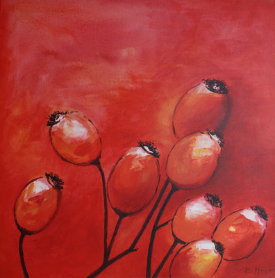 Rosenfrüchte rot - 2005 - Acryl auf Leinwand - 60x60