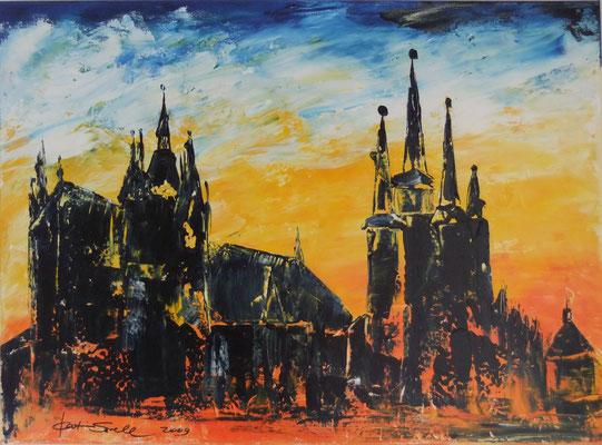 Dom 3-farbig - 2009 - Acryl auf Leinwand - 50x70 - verkauft