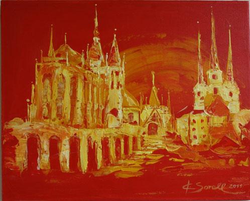 Dom rot - 2012 - Acryl auf Leinwand - 40x50 - verkauft