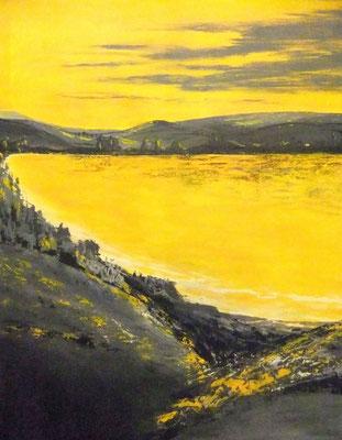 Stausee gelb - 2015 - Acryl auf Leinwand - 80x100