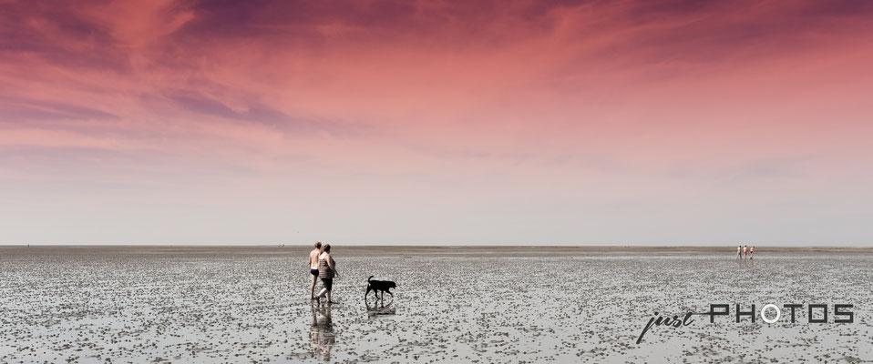 Spaziergänger mit Hund im Watt bei Ebbe an der Nordsee (rot gefärbert Himmel)