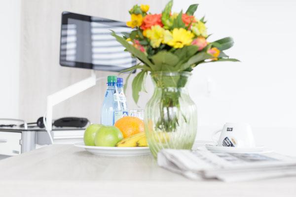 Auftragsarbeit für Benedictus-Krankenhaus Tutzing: Patienten-Suite mit Blumenstrauß und Obstteller