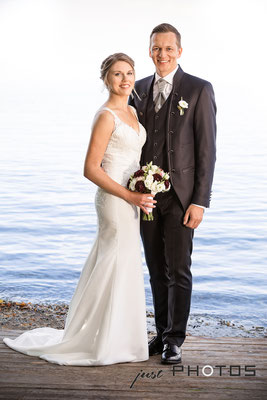 Hochzeit [ Brautpaar-Shooting, Brautpaar am Ufer des Starnberger See | Seerestaurant Marina, Bernried ]